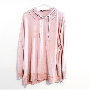 Express One Eleven Pink Burnout Hoodie